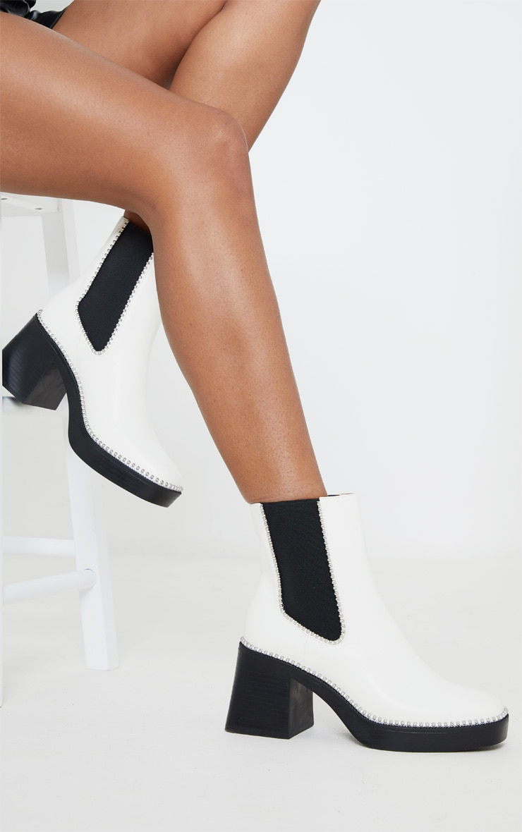 White Square Toe Chunky Block Heel Chelsea Boot 1