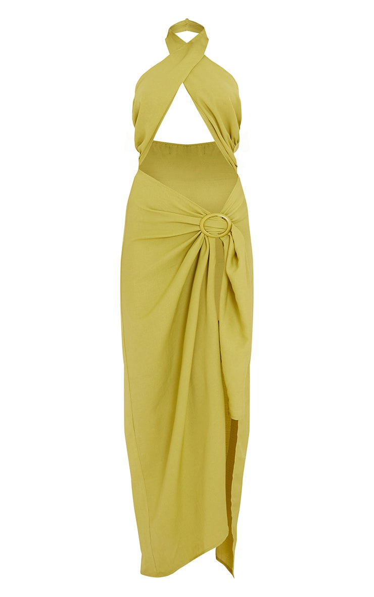 Olive Woven Ring Detail Cut Out Halterneck Midaxi Dress 5