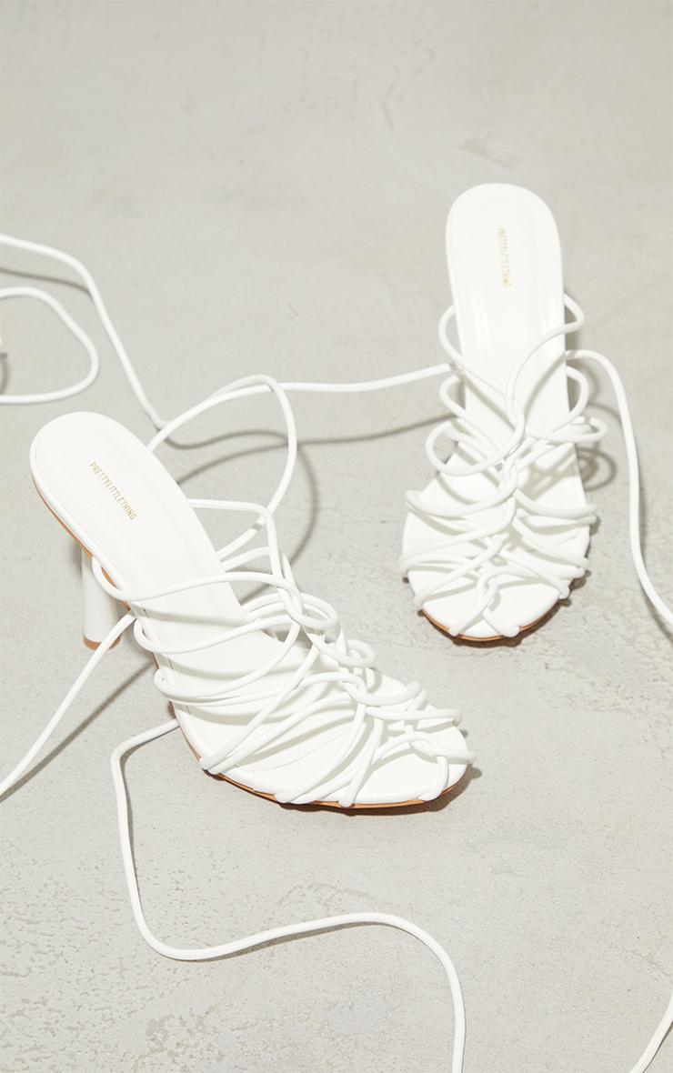 White PU Cage Detail Circle High Heeled Sandals 3