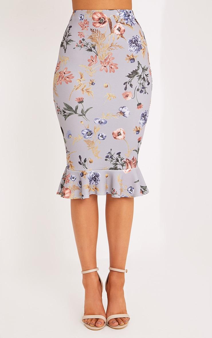 Alyson Grey Frill Hem Floral Midi Skirt 2