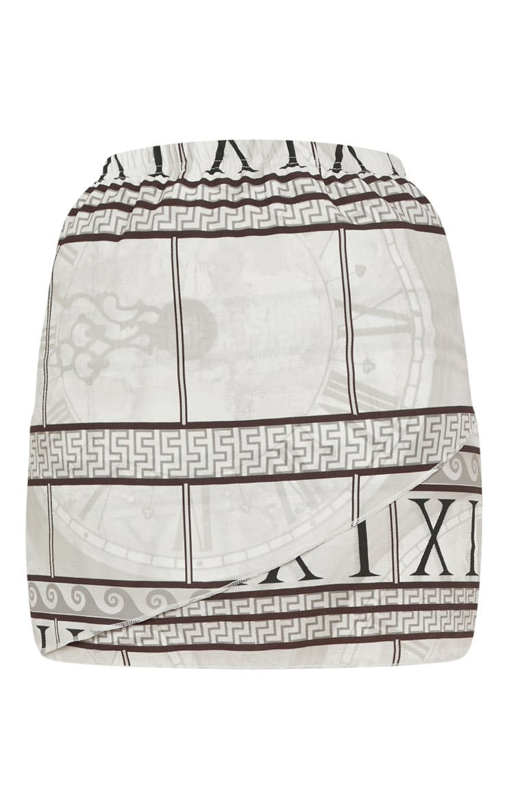 White Abstract Print Wrap Mini Skirt 3