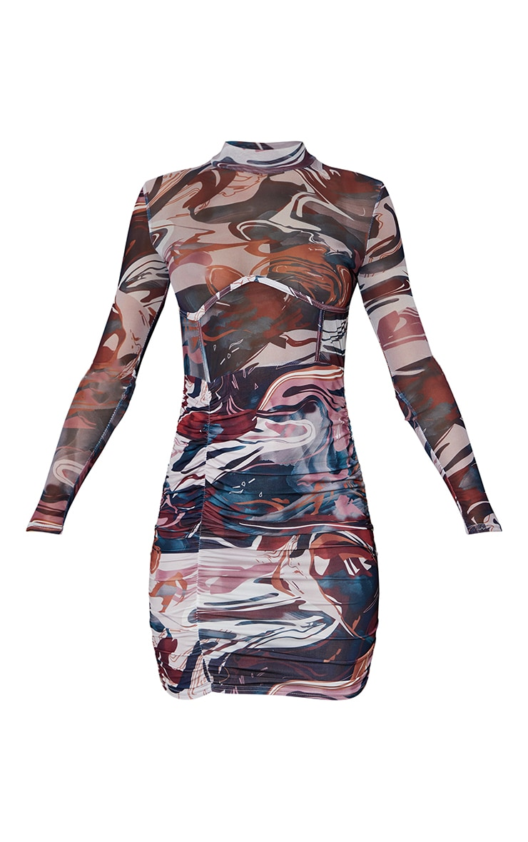 Multi Swirl Print Mesh Underbust Detail Ruched Skirt Bodycon Dress 5