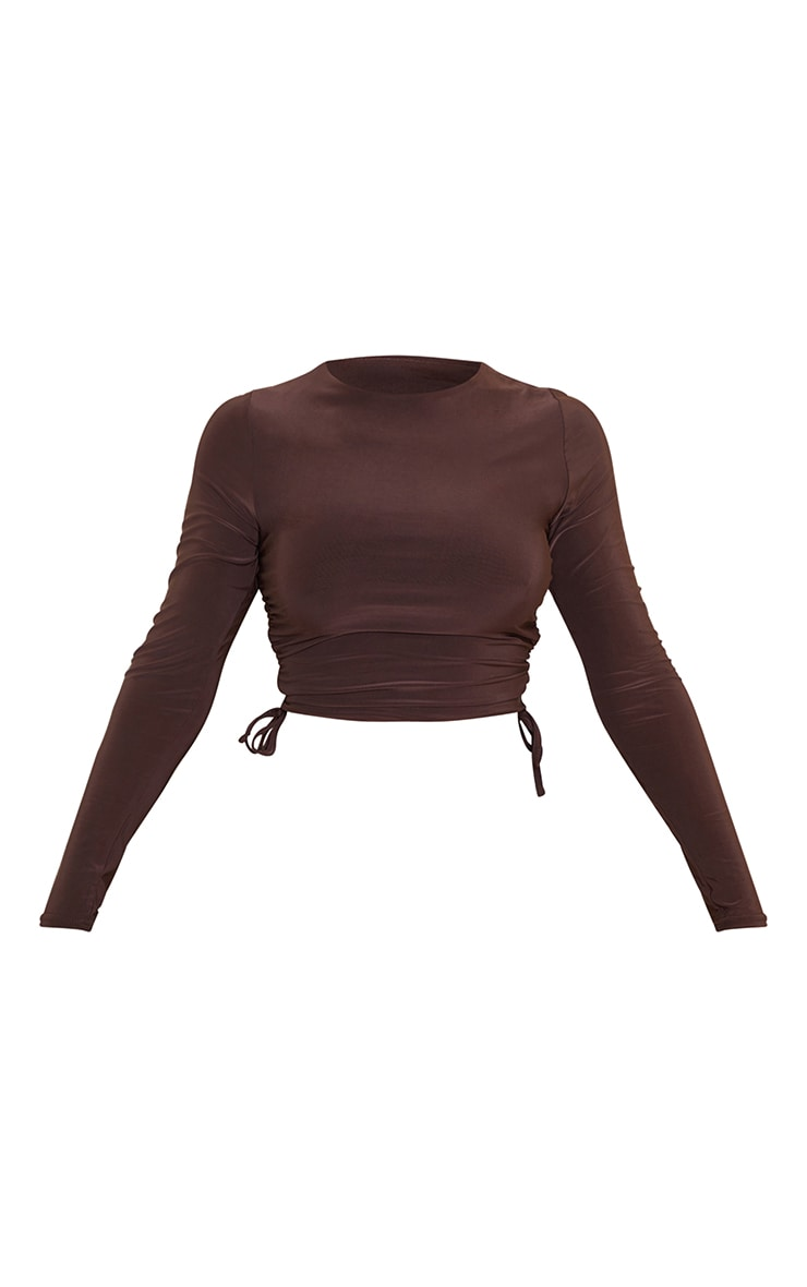 Chocolate Slinky Ruched Side Long Sleeve Top 5
