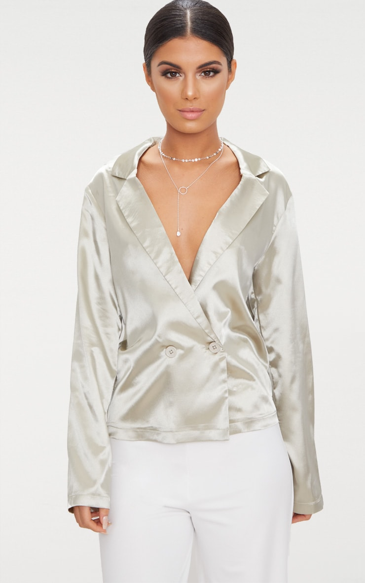 Grey Tux Oversized Satin Shirt  1