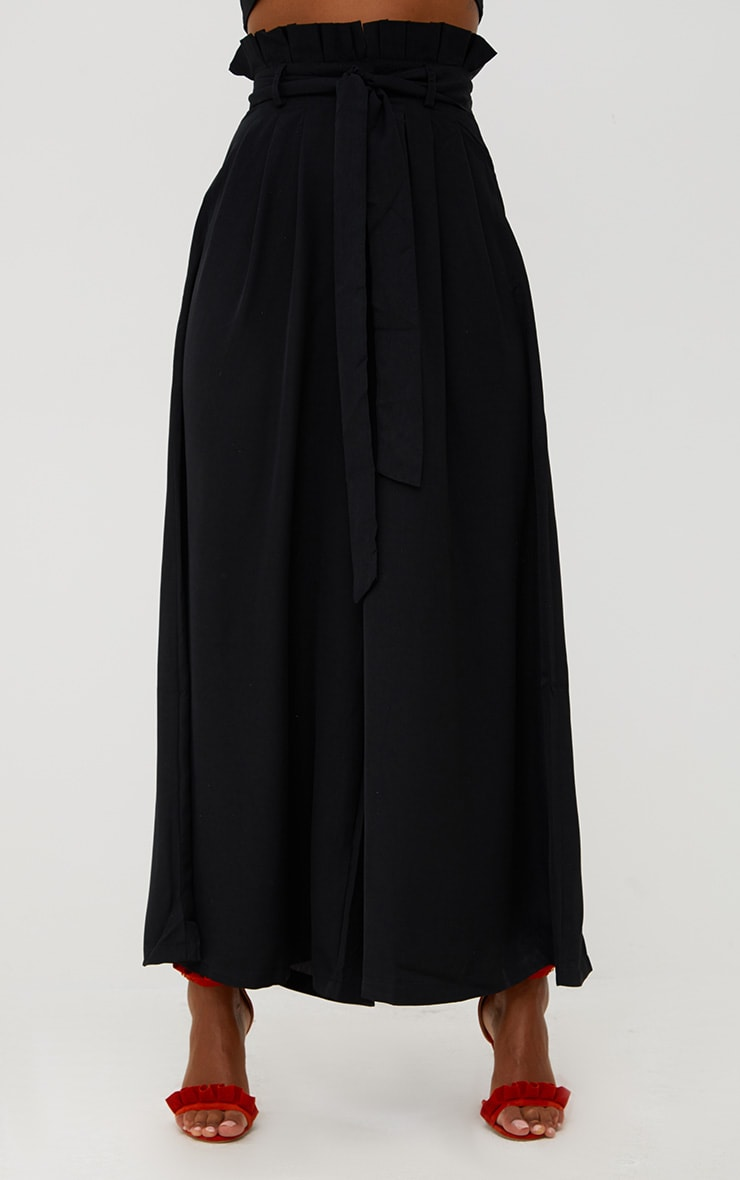 Black Wide Leg Paperbag Trousers 2