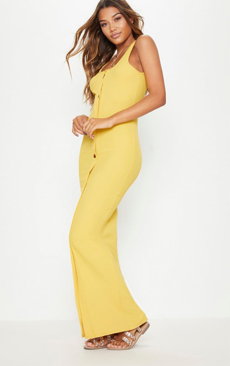 Mustard Ribbed Button Detail Maxi Dress 4