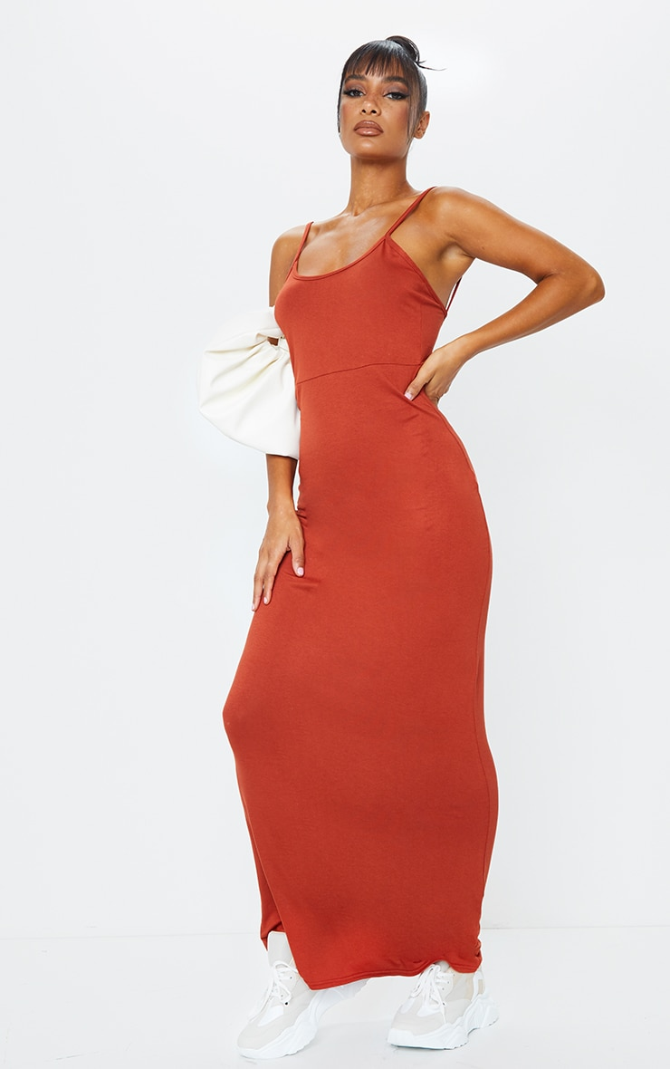 Rust Jersey Scoop Strappy Maxi Dress 3