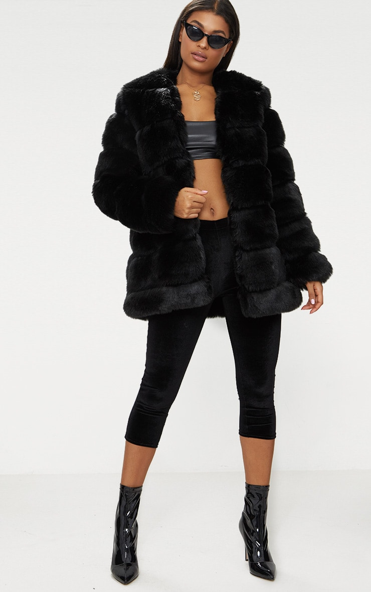 Black Faux Fur Bubble Coat 4