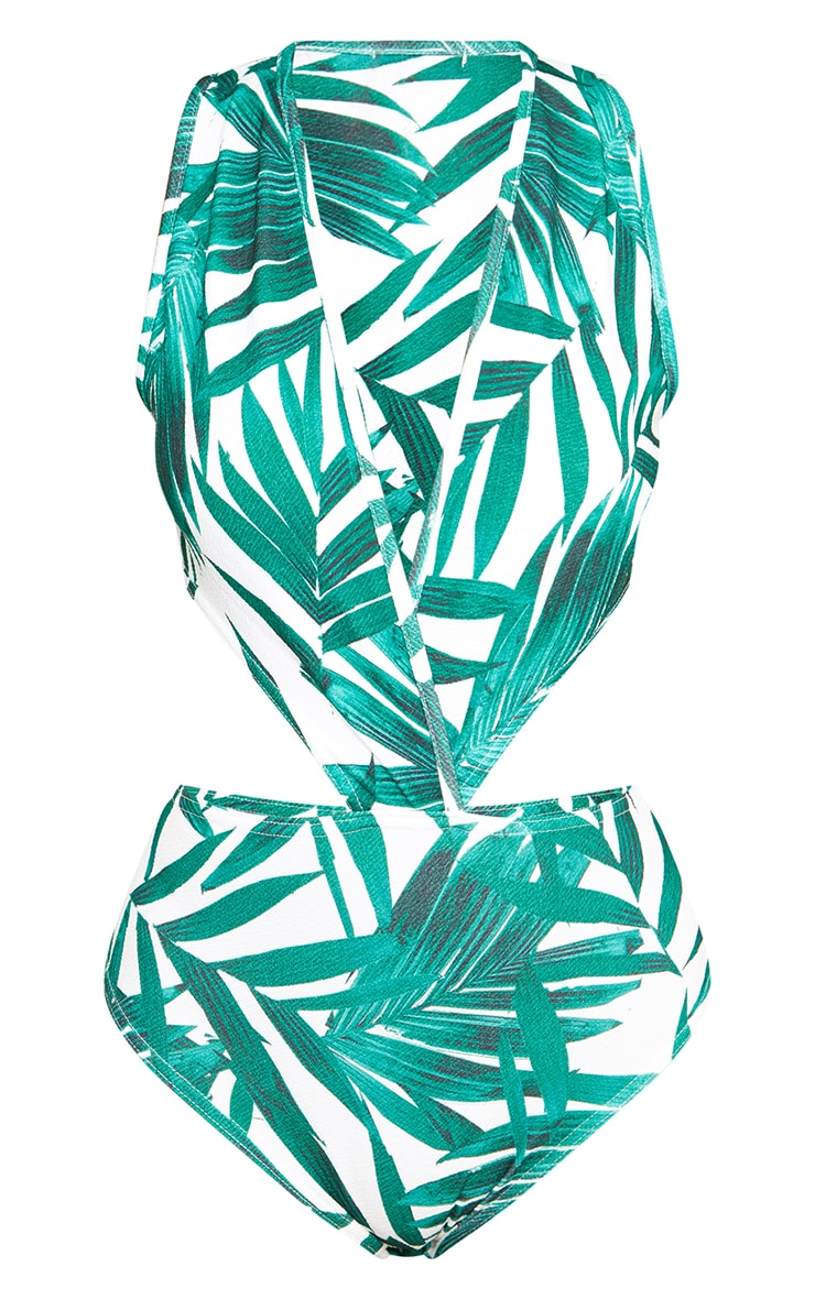Green Tropical Print Cut Out Side Thong Bodysuit 3