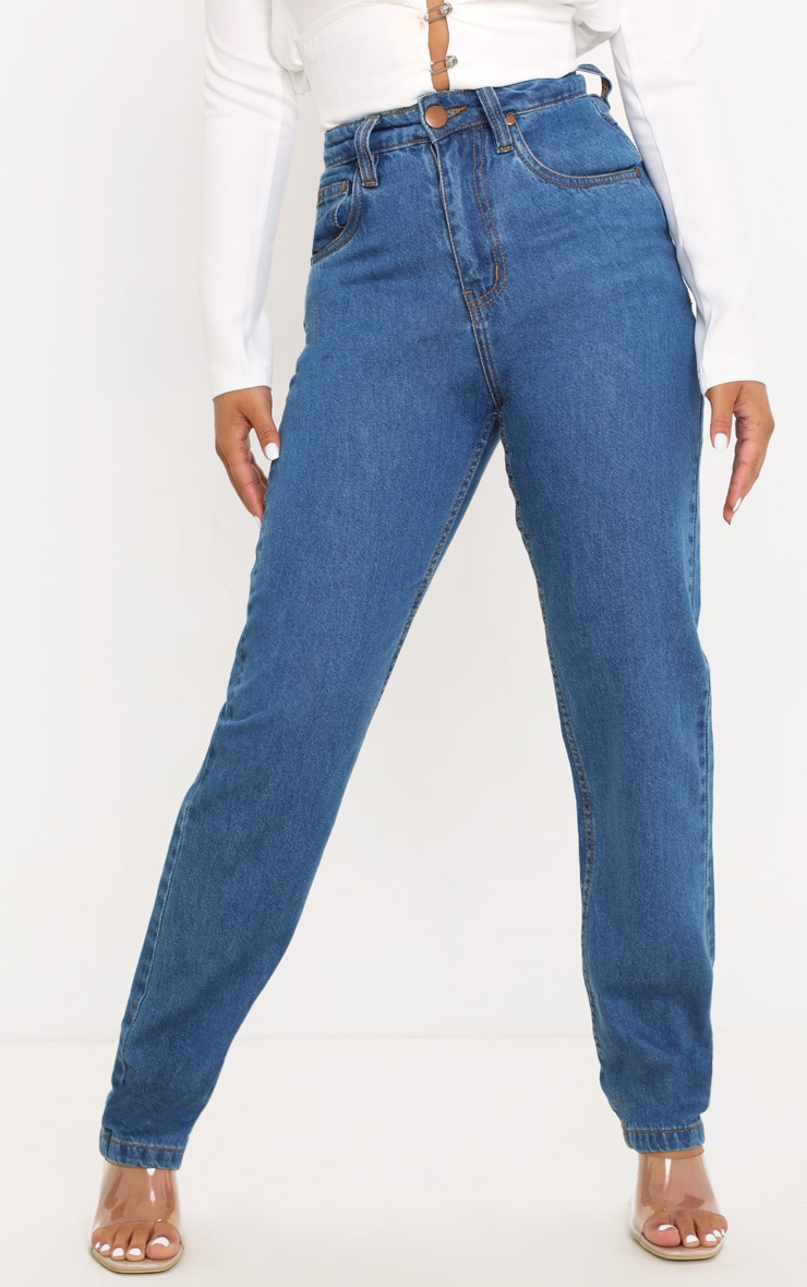 Petite Mid Wash Slim Leg Mom Jean 2