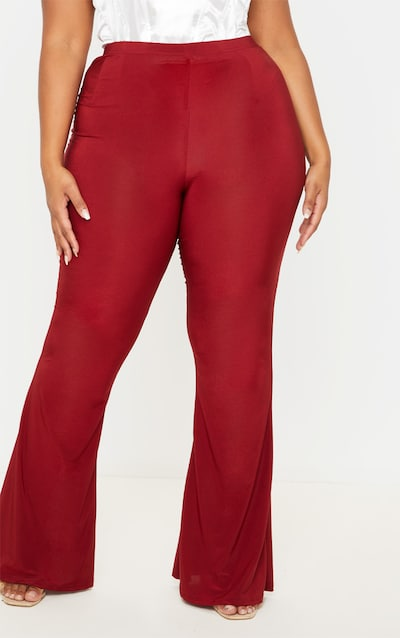 Plus Wine Slinky Flared Trouser
