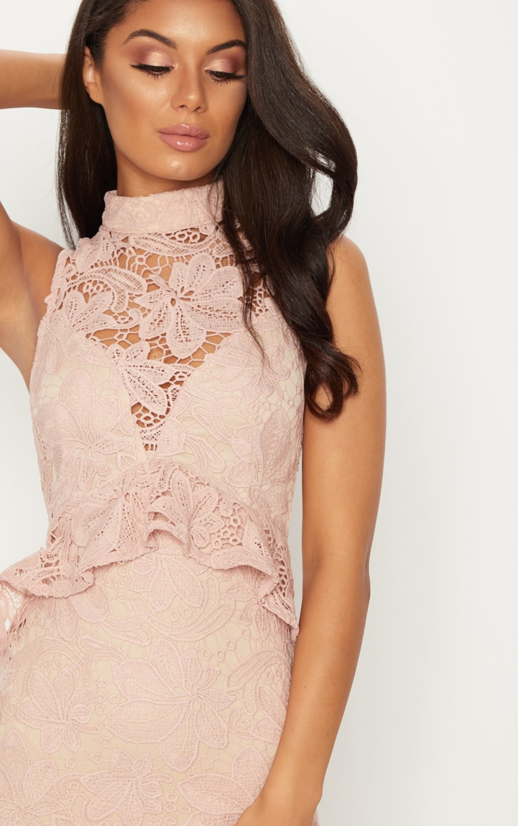 Dusty Pink Lace High Neck Frill Detail Bodycon Dress 5