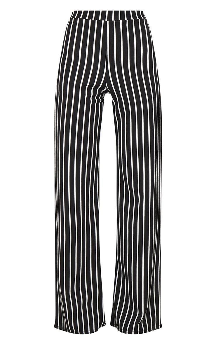 Black Crepe Pinstripe Wide Leg Trouser 3