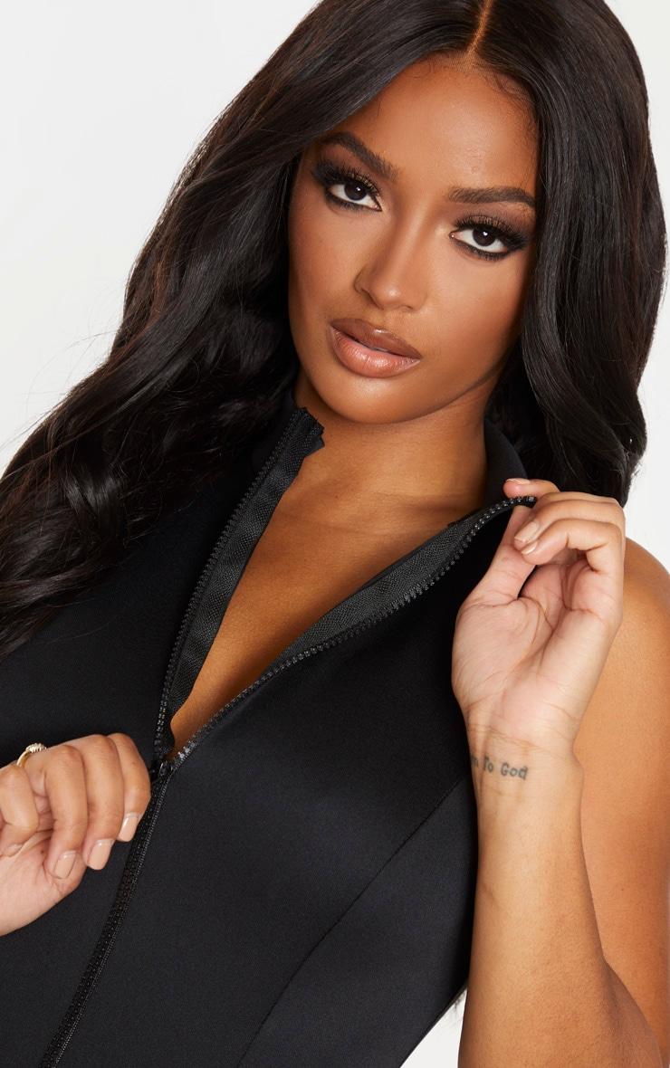 Shape Black Scuba Zip Front Bodysuit 6