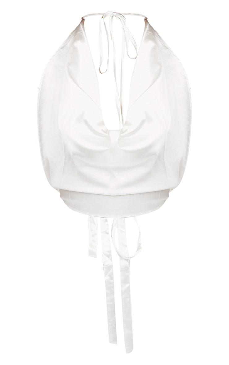White Satin Halterneck Tie Back Crop Top 3