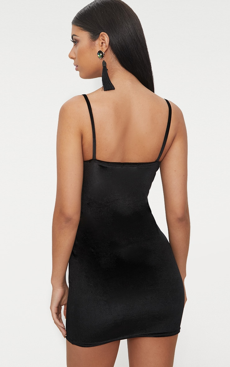 Black Plunge Velvet Bodycon Dress  2