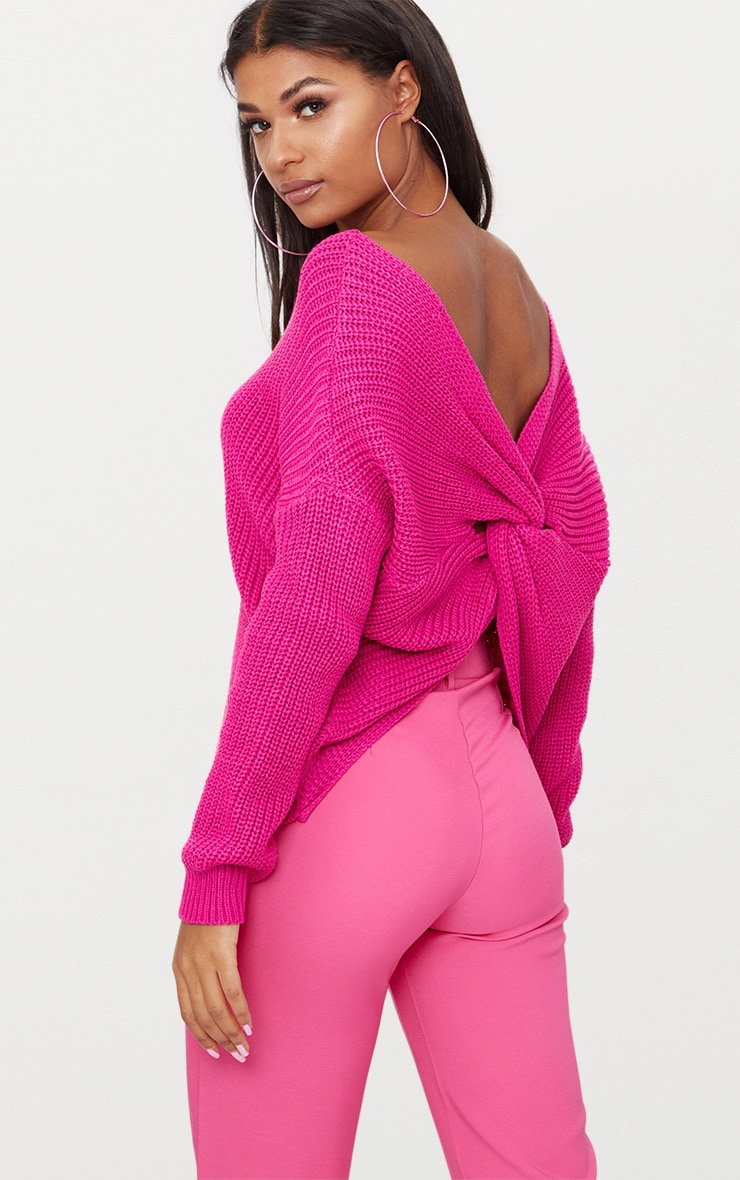 Magenta Chunky Twist Back Jumper 1