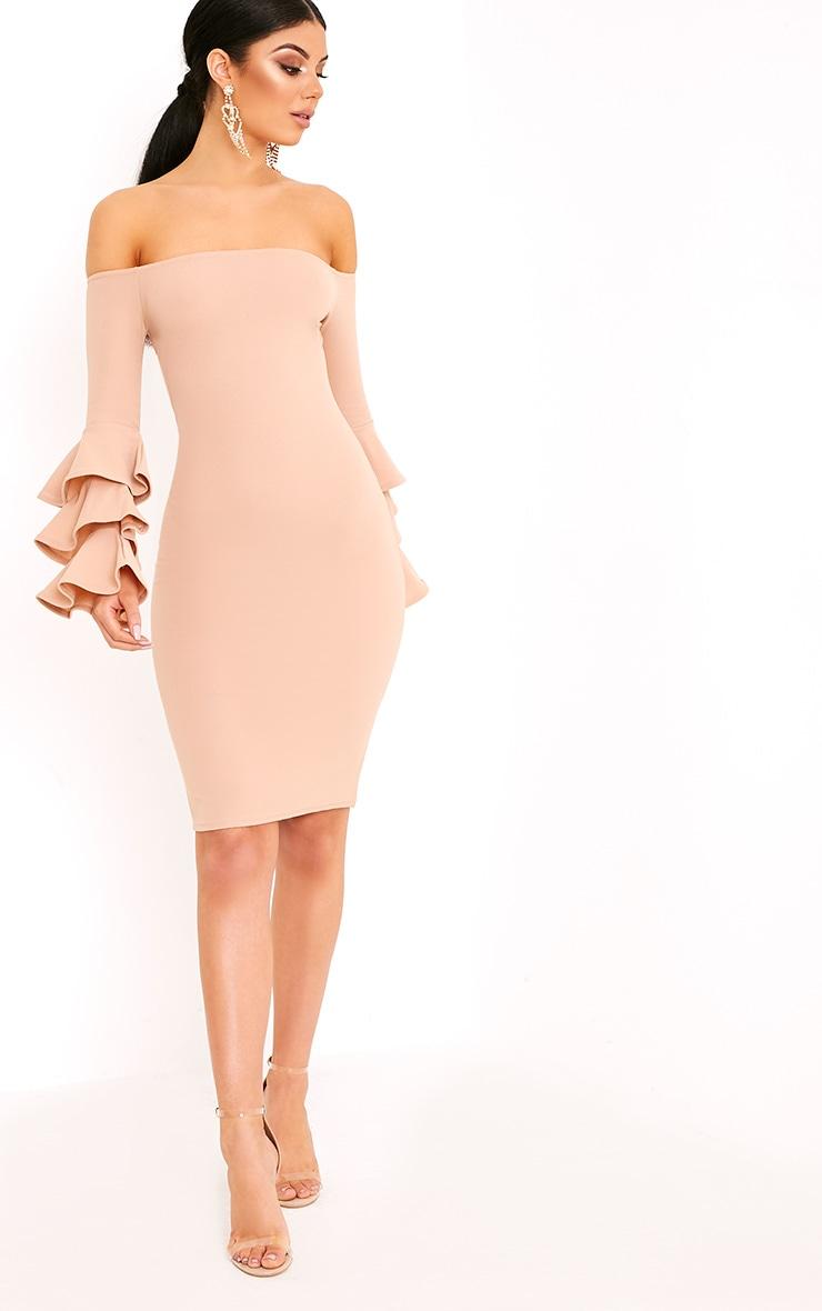 Aniaa Nude Bardot Ruffle Sleeve Midi Dress 4