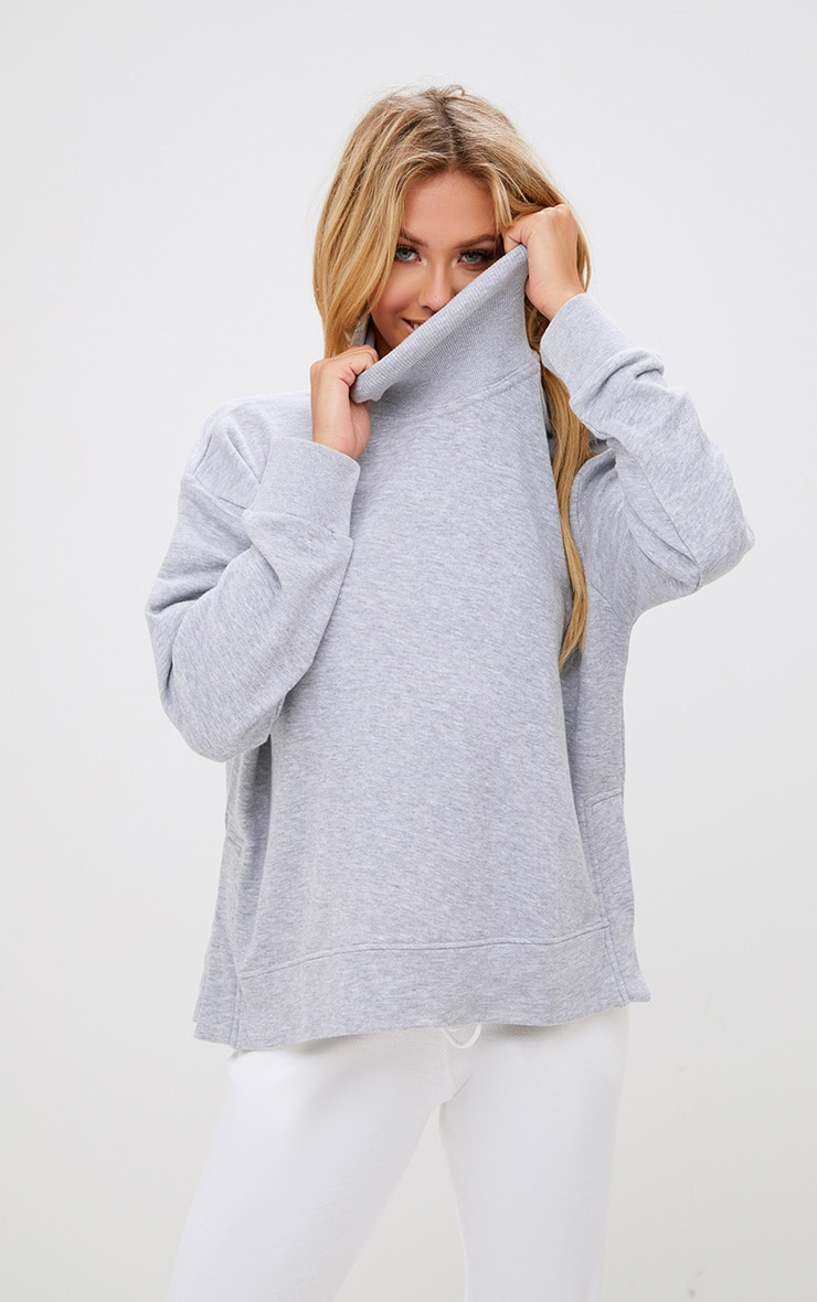 Grey High Neck Oversized Longsleeve Sweater 1