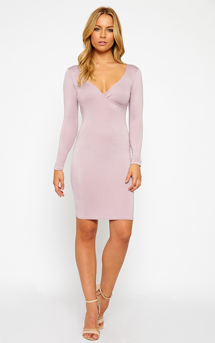 Kayla Mauve Wrap Jersey Dress 3