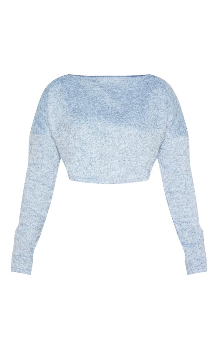 Shape Light Blue Knitted Long Sleeve Crop Top 3