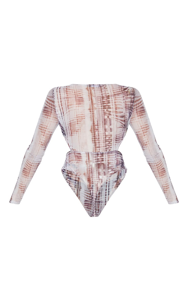 Shape Stone Tie Dye Mesh Panel Cut Out Bodysuit 6
