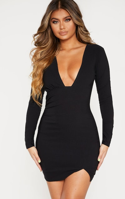 Black Woven Long Sleeve Deep Plunge Bodycon Dress