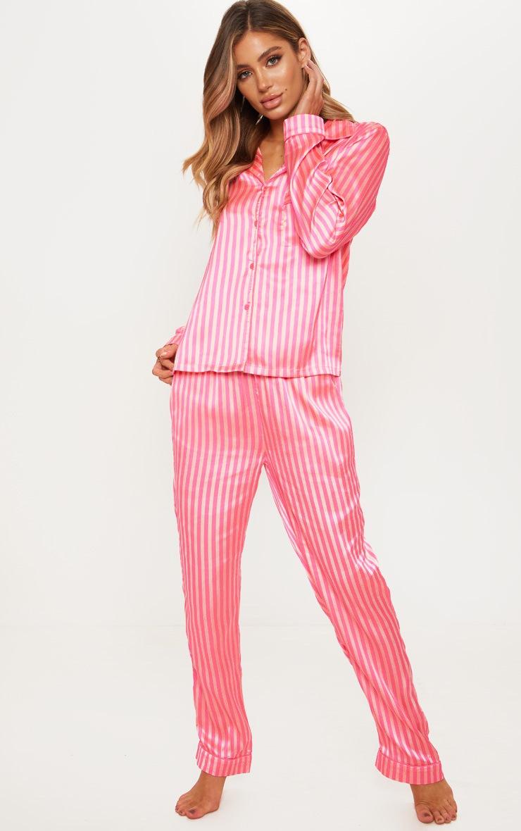 Pink Long Striped Satin Pyjama Set 4