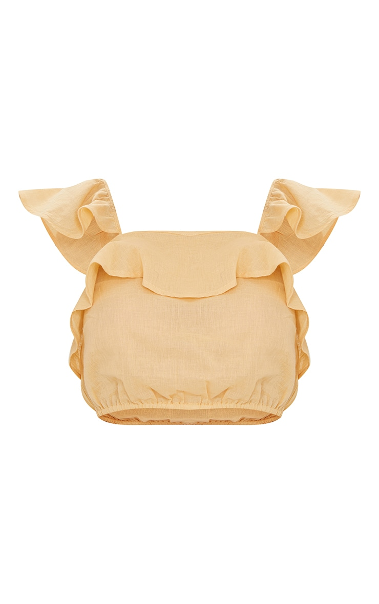 Sand Linen Look Ruffle Strappy Crop Top 5