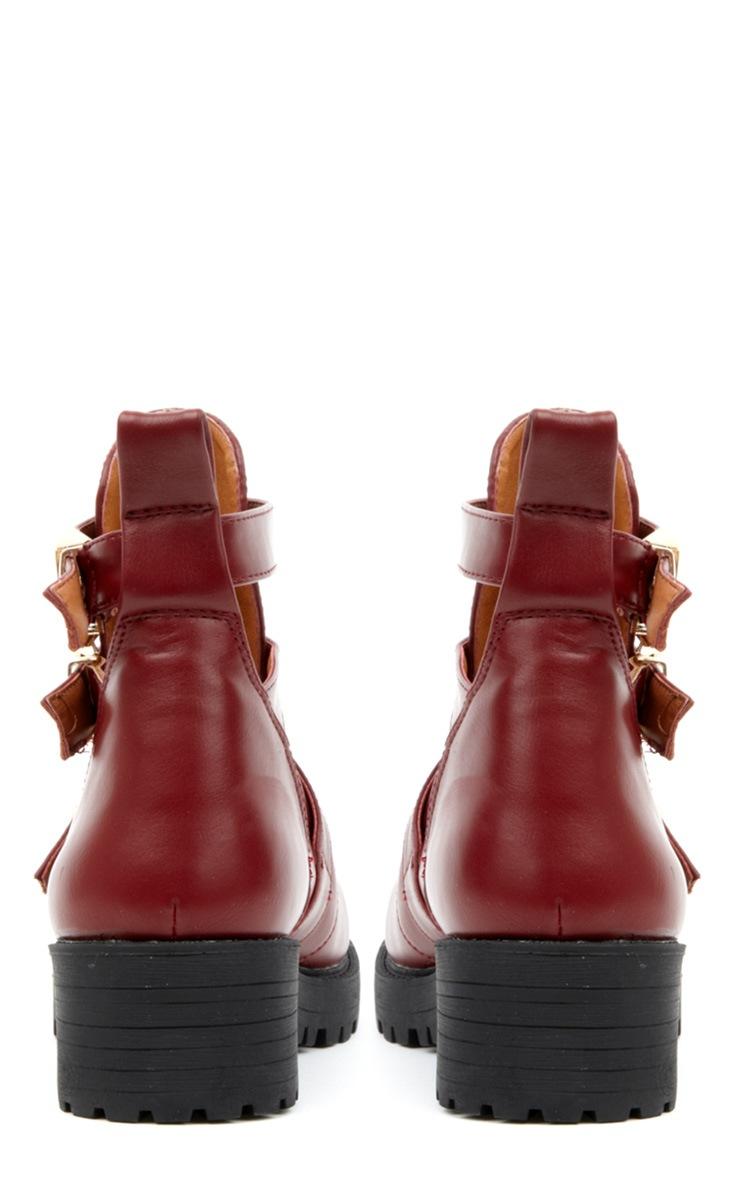 Jennifer Burgundy Cut Out Boots 2