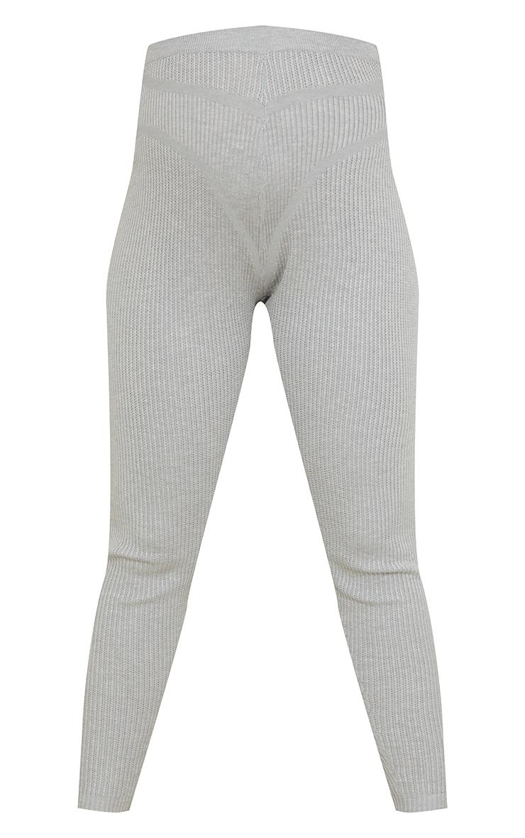 Maternity Grey Bump Shaping Knitted Wide Rib Leggings 5
