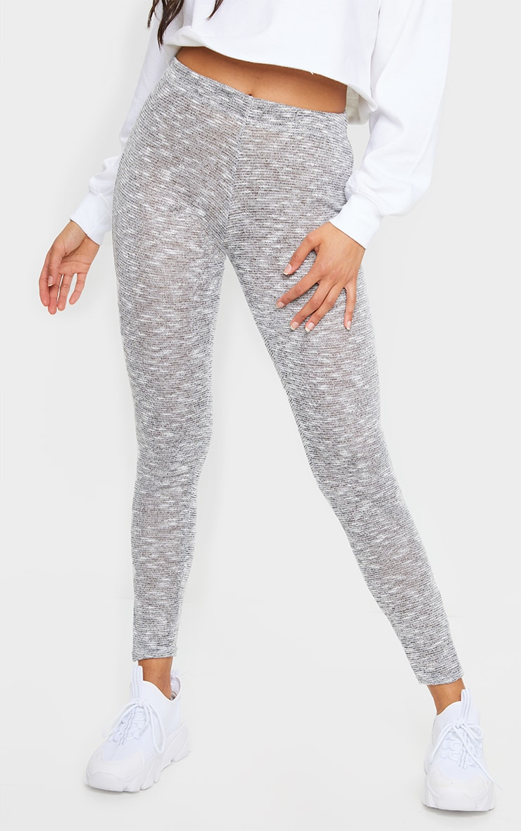 Grey Brushed Marl Split Hem Leggings 2