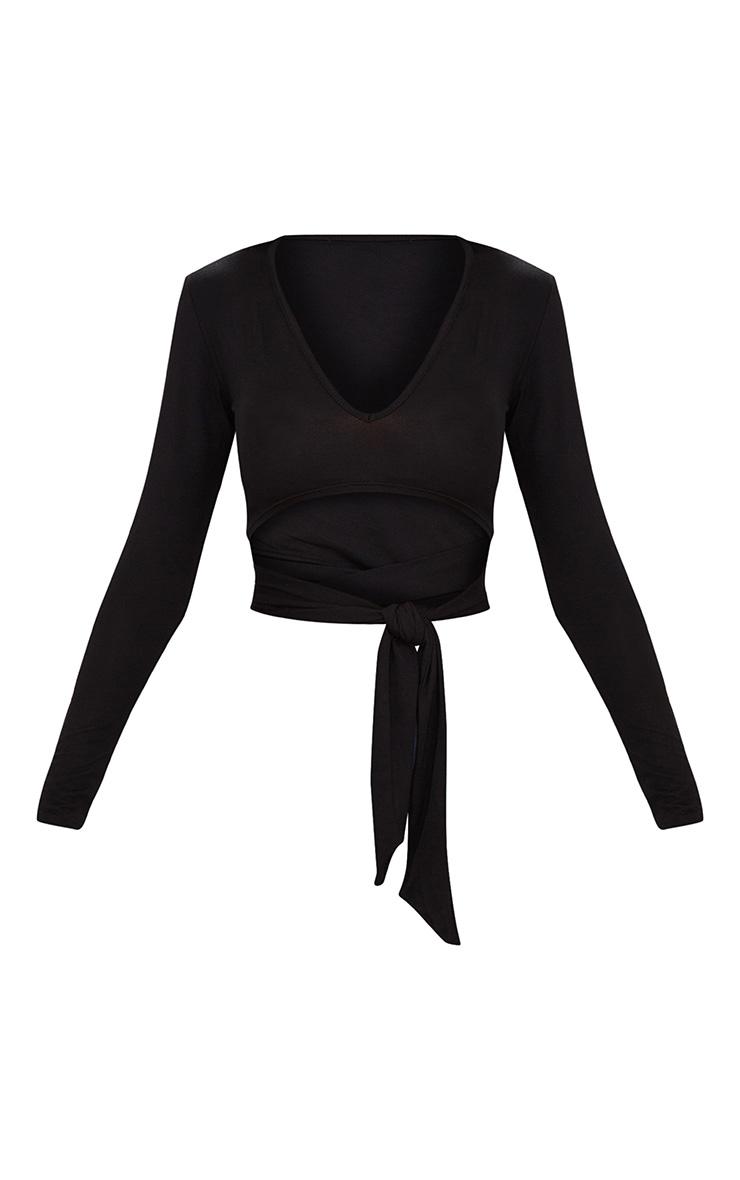 Black V Neck Wrap Front Long Sleeve Crop Top  3