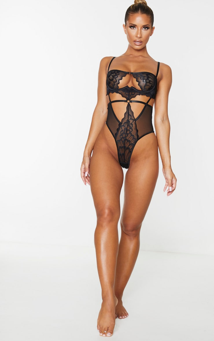 Black Underwired Cut Out Lace Body 3