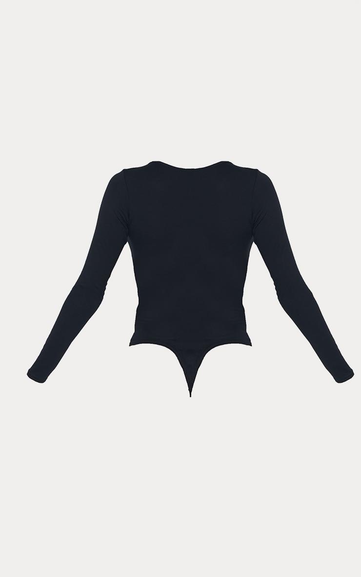 Tall Black Basic Crew Neck Long Sleeve Bodysuit 5