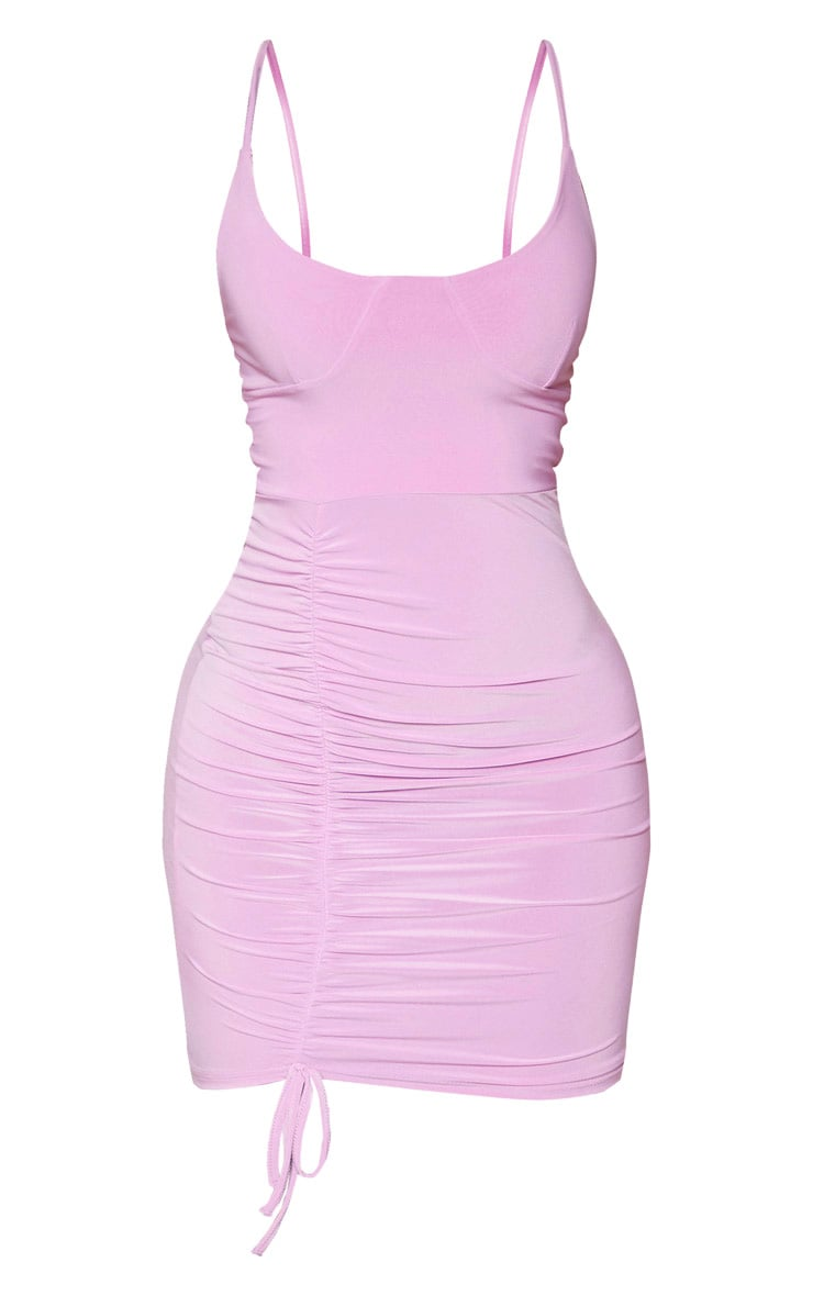 Lilac Slinky Strappy Cup Detail Ruched Bodycon Dress 3