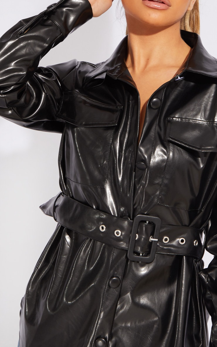 Petite Black PU Buckle Detail Jacket 4