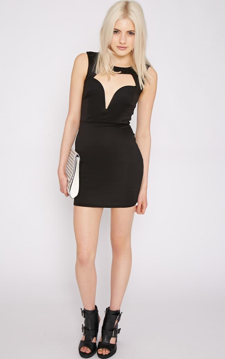Adeline Black V Front Structured Dress 2