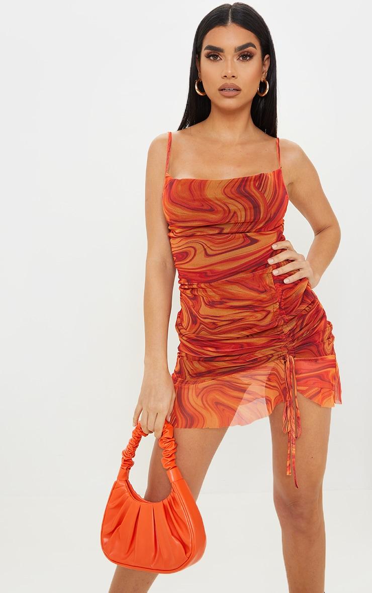 Orange Mesh Marble Print Ruched Bodycon Dress 1