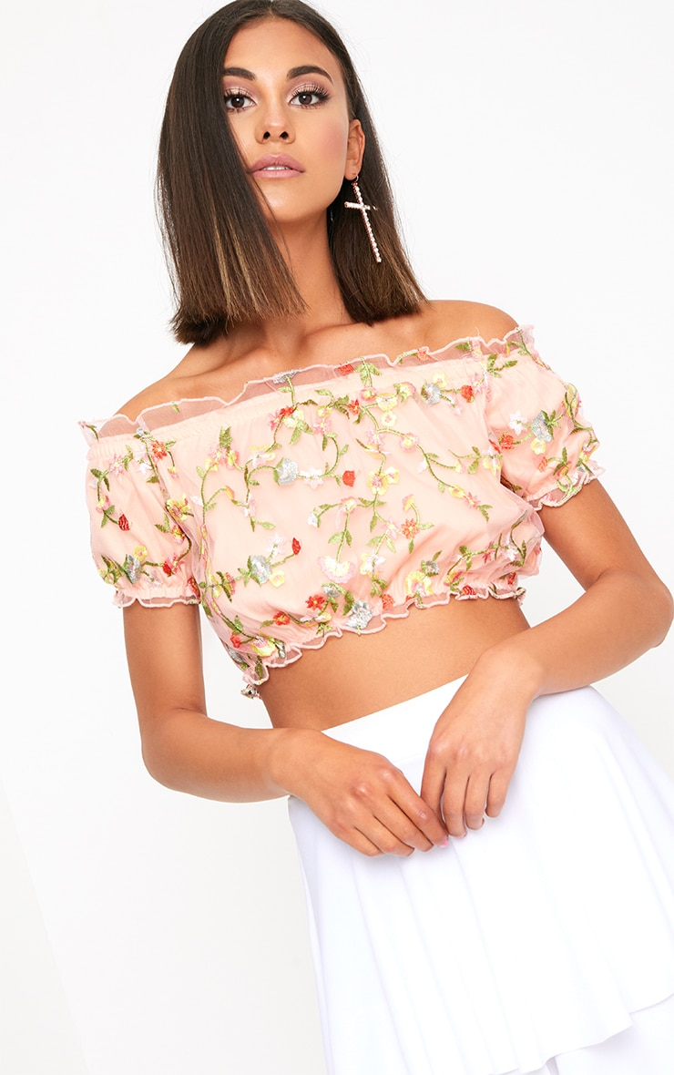 Nude Embroidered Bardot Crop Top 1