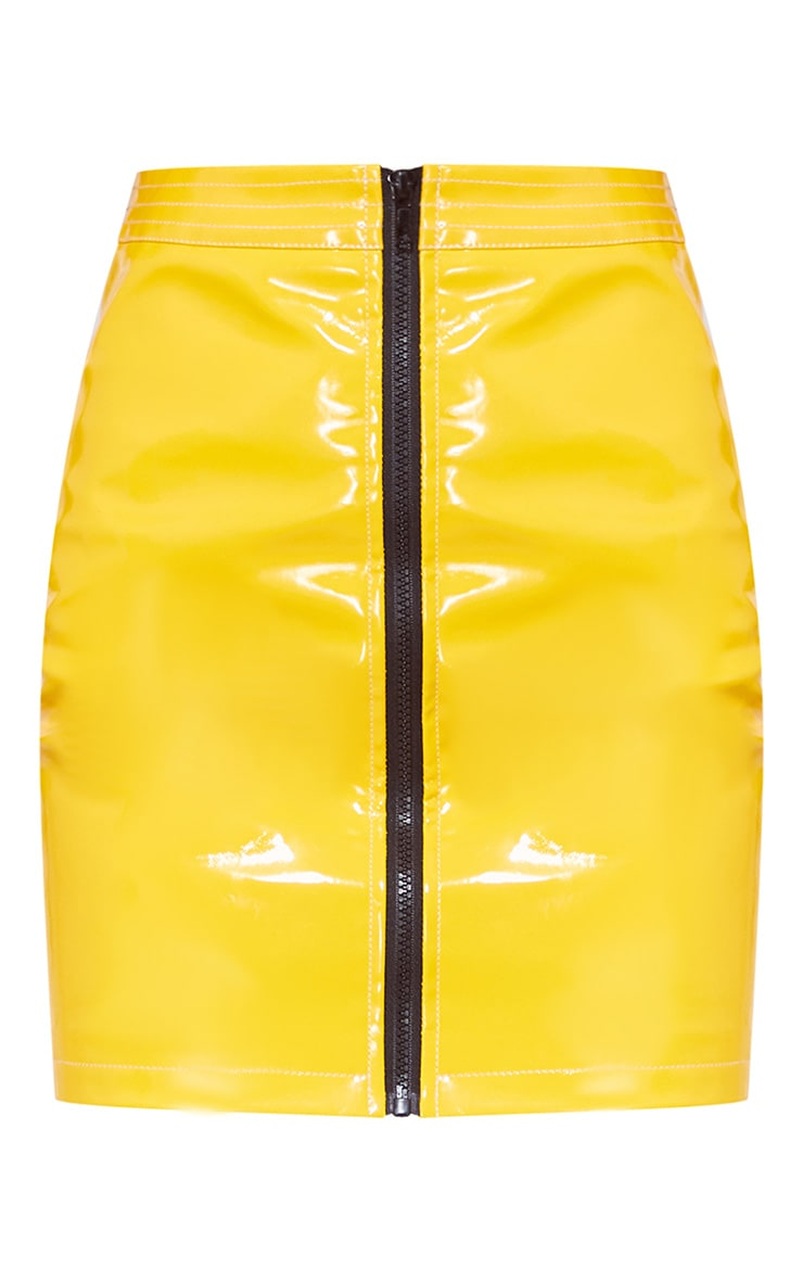 Yellow Vinyl Zip Detail Mini Skirt 4
