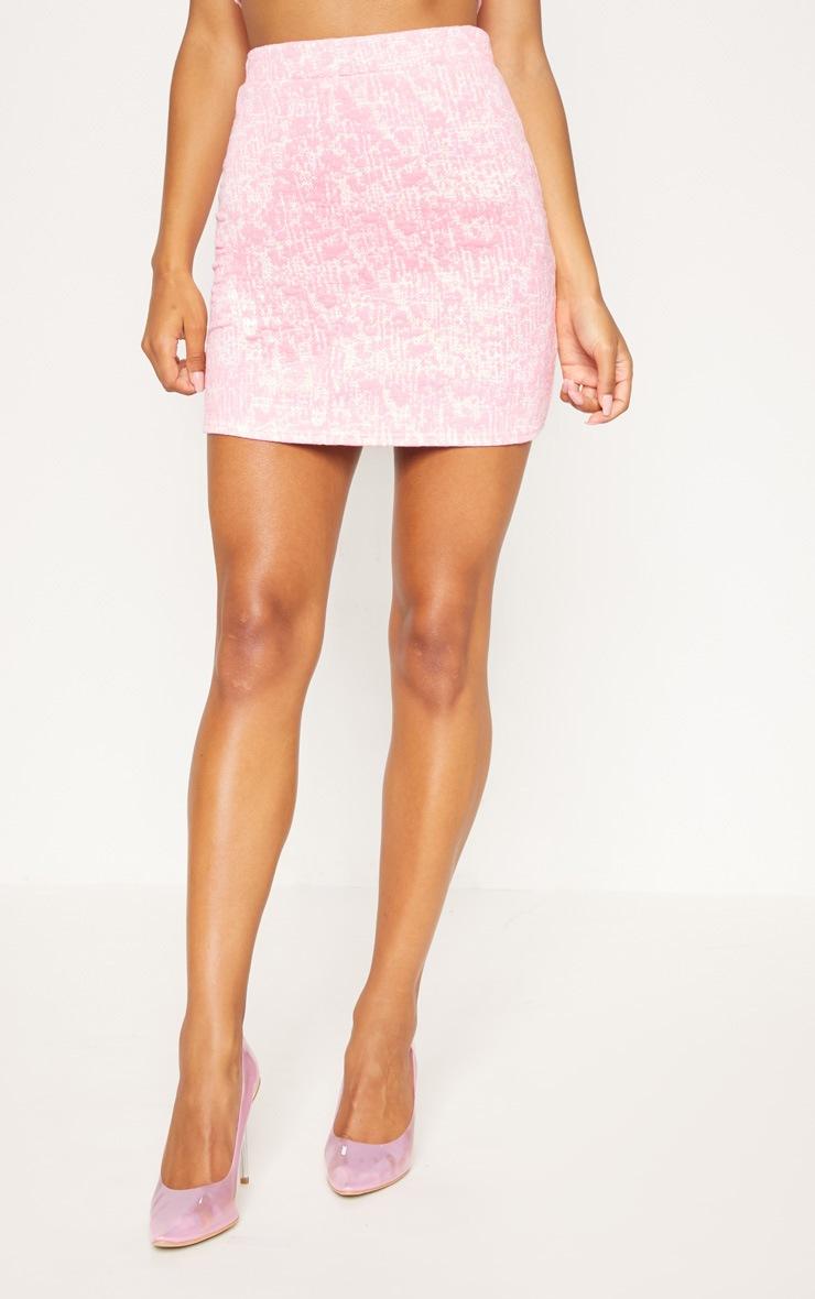 Pastel Pink Boucle Skirt 2