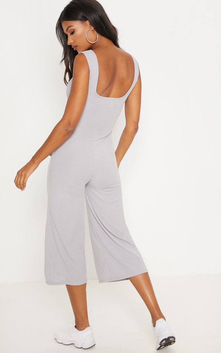 Grey Ribbed Tie Waist Culotte Jumpsuit 2