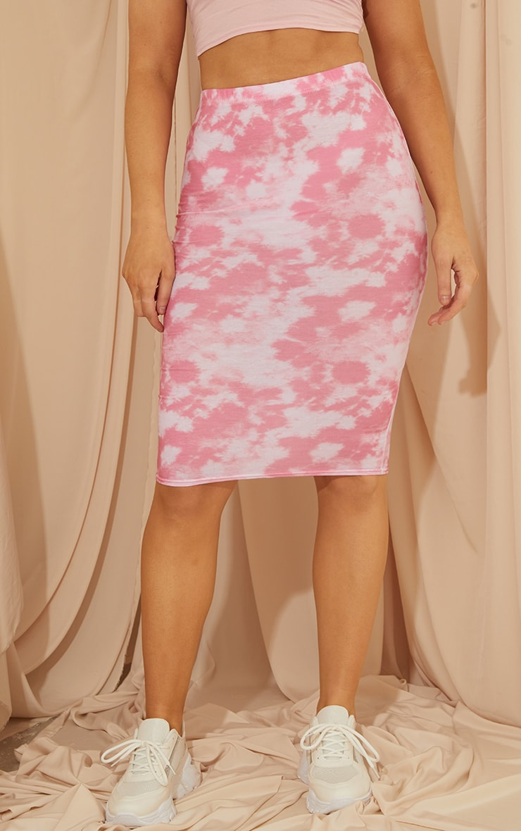 Pink Tie Dye Basic Midi Skirt 2