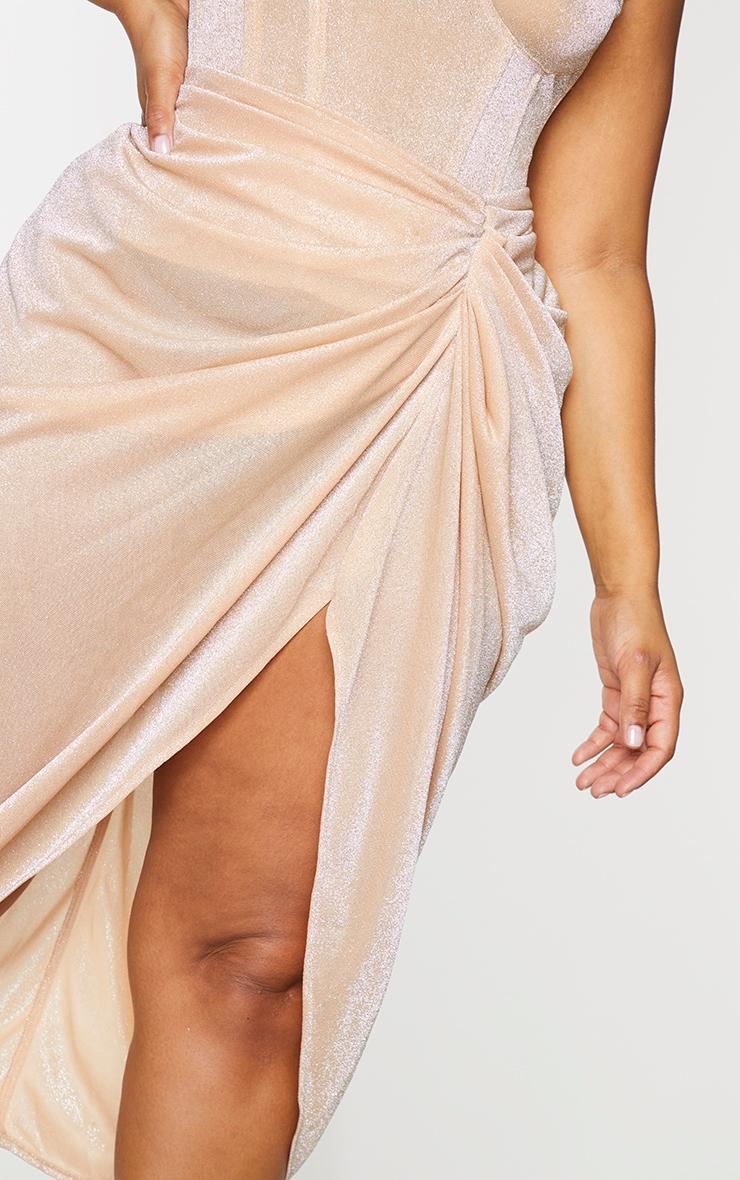 Plus Champagne Glitter Ruched Side Midi Skirt 4