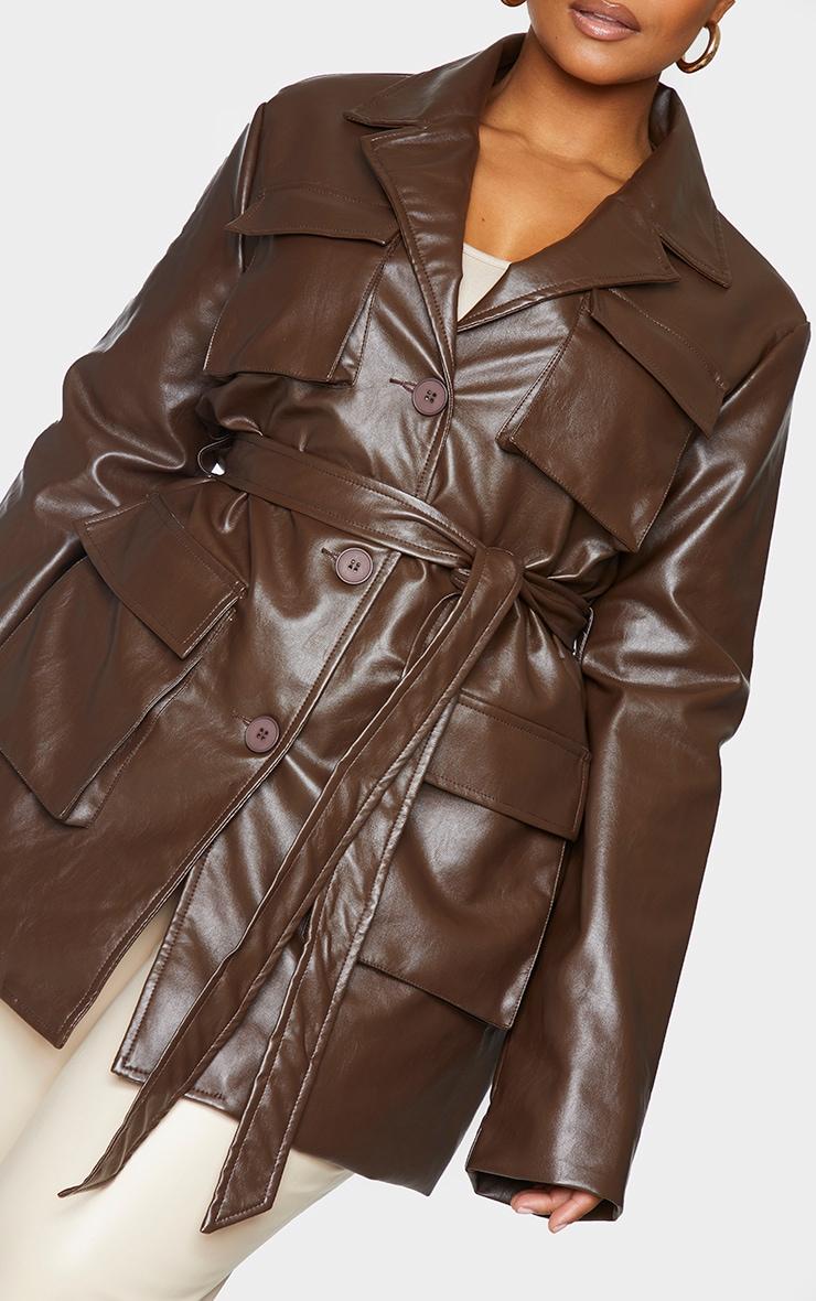 Plus Chocolate Brown PU Longline Pocket Front Jacket 4