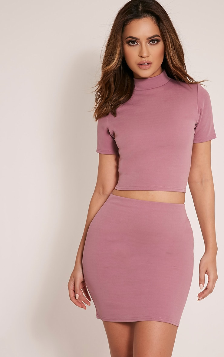 Erasma Mauve Scuba Mini Skirt 1