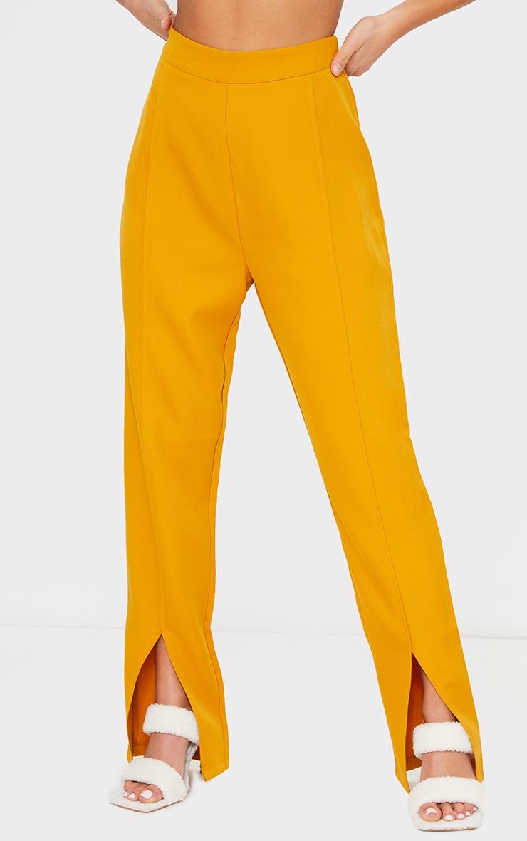 Petite Mustard Tailored Split Hem Straight Leg Pants 2