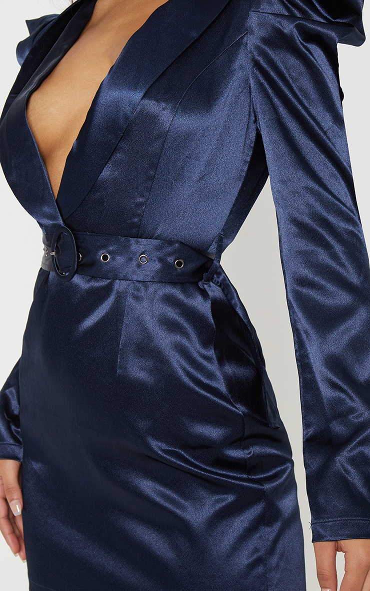 Navy Shoulder Detail Belted Blazer Style Bodycon Dress 5