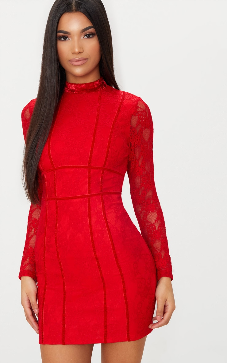 Red Lace Piping Detail Bodycon Dress 1